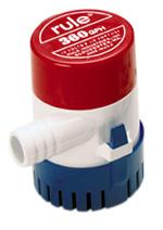 """Bomba de Porão Rule 360  Bomba de porão para embarcações de pequeno porte ( imersa ).   - 360 gph - 1360 l/h  - 12 volts - 2 amp. - com saída de água de 3/4"""""""